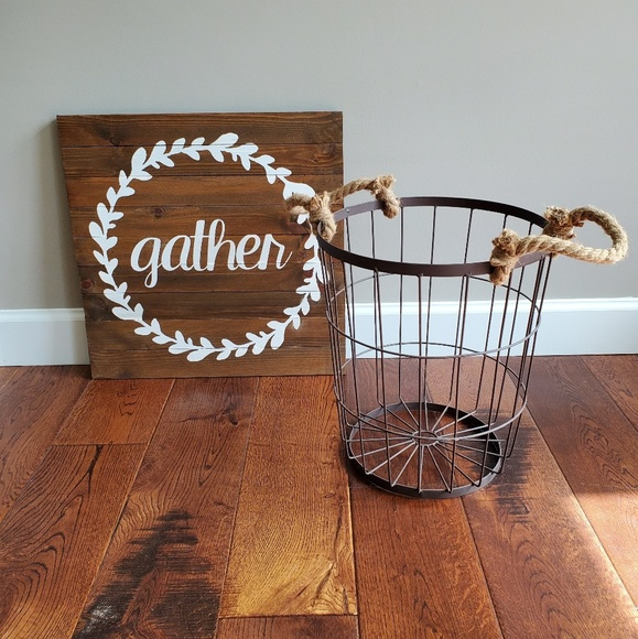 Homegoods Other - Homegoods metal basket and Gather wooden sign
